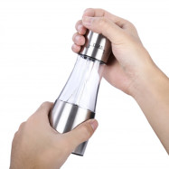 Stainless Steel 2 in 1 Hand Salt Pepper Shaker with Adjustable Coarseness
