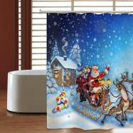 Christmas Sleigh Elk Waterproof Shower Curtain 180 x 180cm
