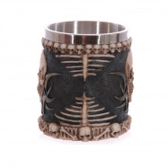 Creative 3D Stereo Skull Face Resin Case Stainless Steel Cup 230ML