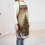 Wood Grain Christmas Tree Print Polyester Waterproof Apron