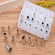 DIHE Cookies Cake Nozzle Suit Stainless Steel Multifunction Piping Tips 24PCS
