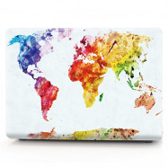 Computer Shell Laptop Case Keyboard Film for MacBook Air 13.3 inch 3D Watercolor World Map