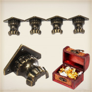 4PCS Zinc Alloy Retro Antique Brass Jewelry Chest Wood Box Decorative Feet Leg Corner Protector 35 x 25mm