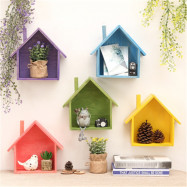 Wall Deocr Colourful House Shape Hanging Storage Shelf