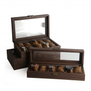 6/10/12 slot Watch Box Display Case Organizer Wood Grain Leather Jewelry Holder