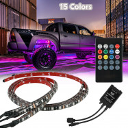 RGB 48 LED Strip Under Car Tube Underglow Underbody System 4Pcs Neon Lights Kits