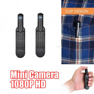 2 Packs 1080P HD Mini Body Camera Personal Audio Loop Recording w/ Back Clip