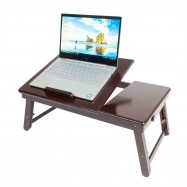 Lap Desk Wood Folding Tray Table Drawer Breakfast Bed Food Laptop TV Dark Coffee