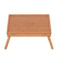 Adjustable Wood Color Bed Tray Lap Desk Serving Table Folding Legs Food Dinner