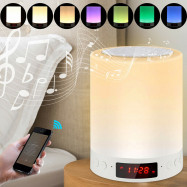 Bedside Lamp With Alarm Clock Bluetooth Speaker Dimmable LED Touch Night Light