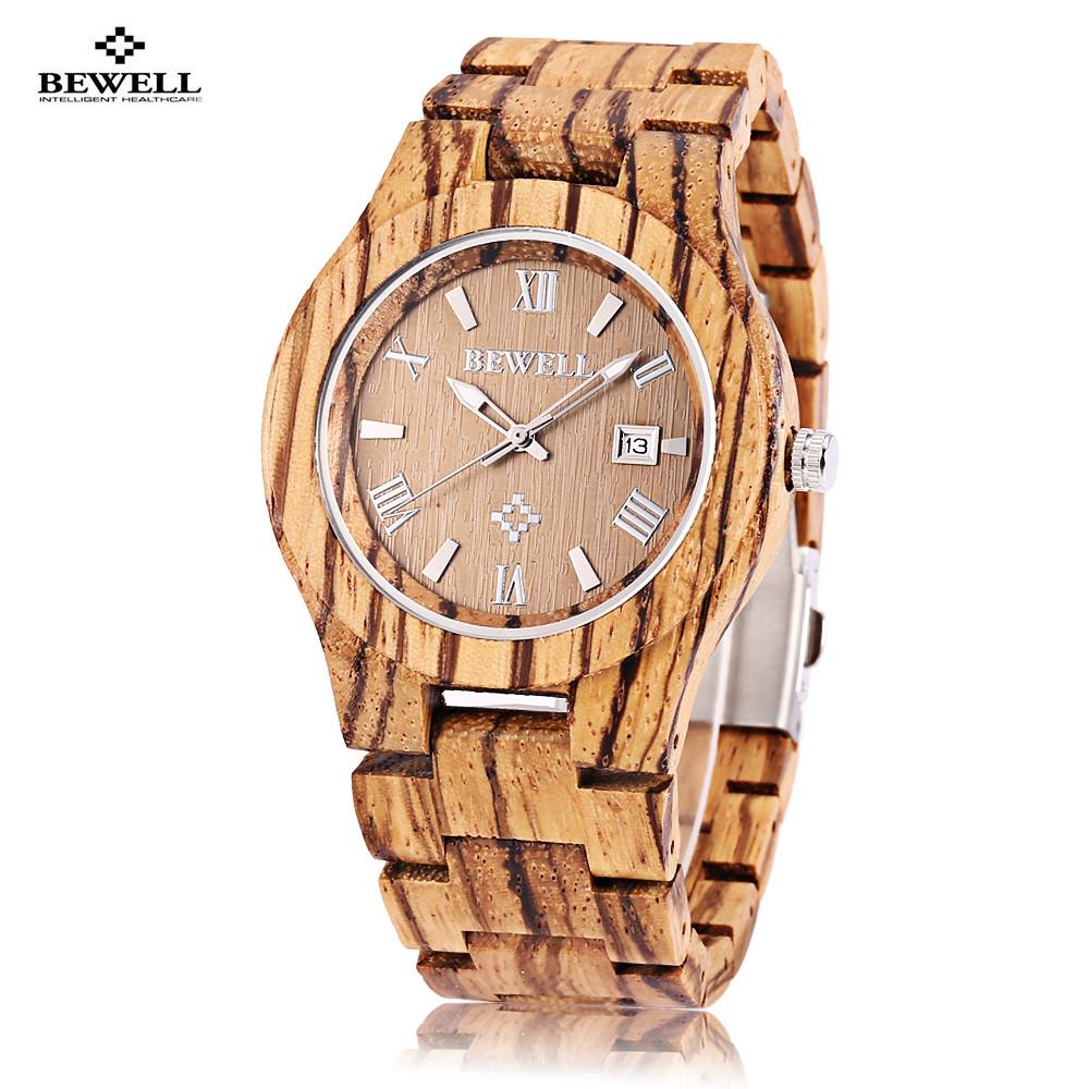 Bewell ZS - W127A Male Wooden Quartz Watch Date Luminous Display Japan Movt Wristwatch