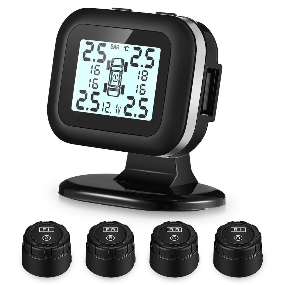 ZEEPIN C120 Tire Pressure Monitoring SystemUniversal Real-time Tester Angle-adjustable Display 4 External Sensors