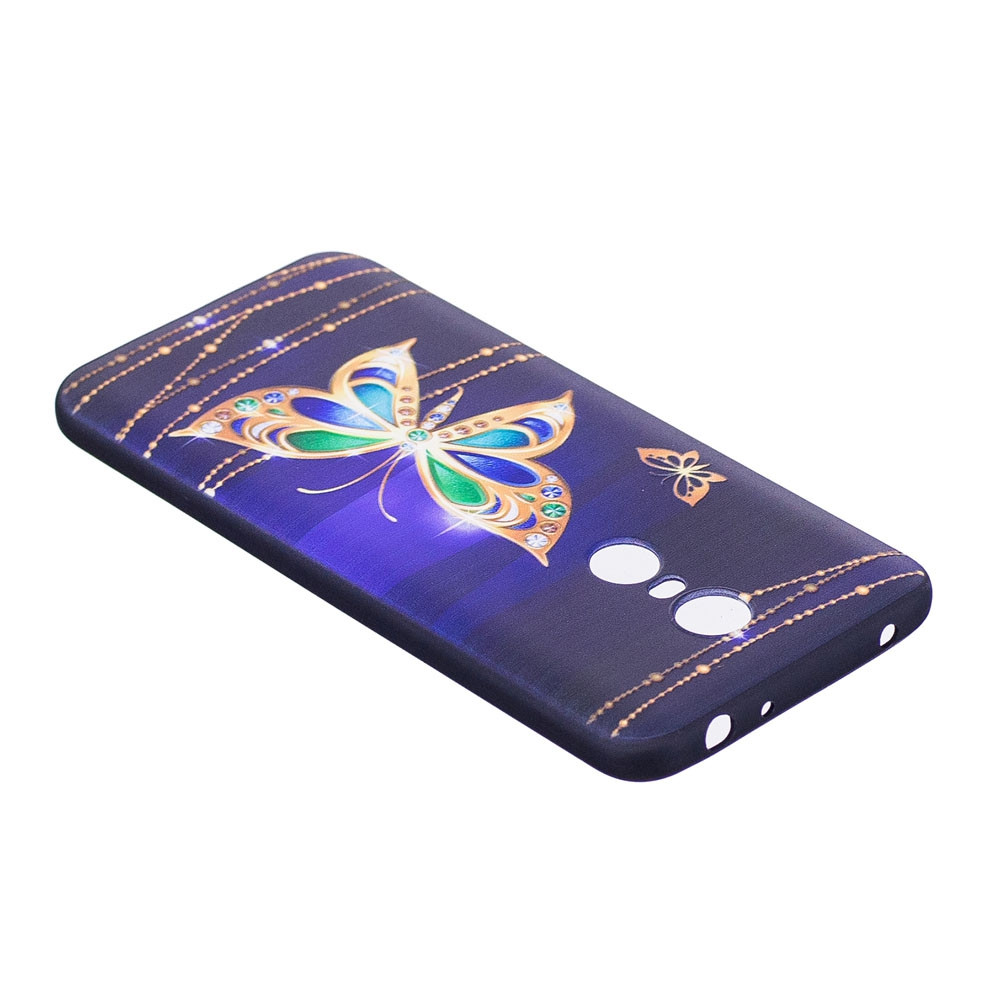 Relief Silicone Case for Xiaomi Redmi 5 Plus Large Butterfly Pattern Soft TPU Protective Back Cover