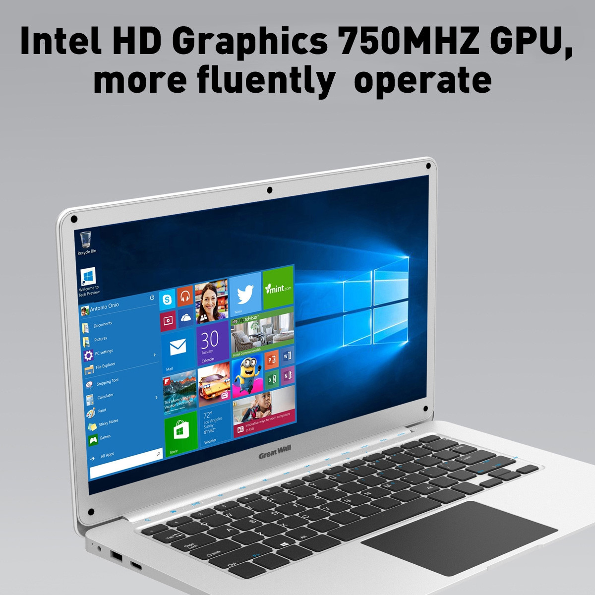 Great Wall W1410A 14 inch Windows 10 Intel Celeron N3350 2.4GHz 4GB 64GB 37W Long-time Battery WIFI BT LAN Notebook Sliver
