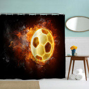 Football Flame Polyester Shower Curtain Bathroom Curtain High Definition 3D Printing Water-Proof