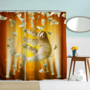 Pipe Sloth Polyester Shower Curtain Bathroom  High Definition 3D Printing Water-Proof