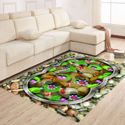 Bedroom  Floor Mat Sweet Lifesome Flowers Pattern  Anti-slip Soft Mat
