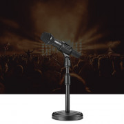 Black Microphone Stand with Compact Round Base