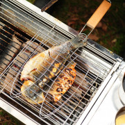 Plated Steel Hamburg Grilled Fish Clip Barbecue Net BBQ Tool for Outdoor Camping
