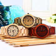 Bewell ZS - W086B Wood Quartz Men Watch Analog Date Display