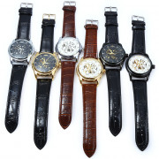 Winner W045 Men Hollow Automatic Mechanical Watch with Leather Band Rhinestone Scales