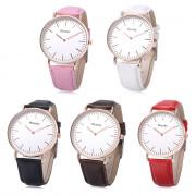 WEESKY 699 Unisex Quartz Watch Leather Band Nail Shape Scale Wristwatch
