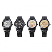 WINNER U8061 Male Auto Mechanical Watch Hollow-out Dial Stainless Steel Band Wristwatch