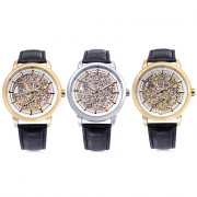WINNER W09 - 1 Male Auto Mechanical Watch Exquisite Hollow Pattern Dial Luminous Pointer Wristwatch