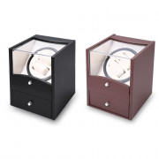 Auto Rotation Watch Winder Two Grids Transparent Cover Cuboid Shape Wristwatch Box with Drawer