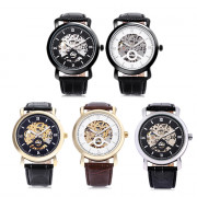 WINNER A540 Male Auto Mechanical Watch Hollow-out Dial Leather Band Wristwatch
