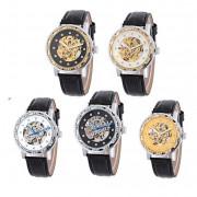 WINNER W138 Male Auto Mechanical Watch Luminous Leather Strap Artificial Diamond Dial Wristwatch