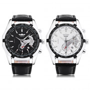 Winner F120535 Men Mechanical Watch Date Display Luminous Leather Band Wristwatch