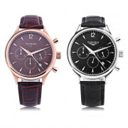 GUANQIN GS19023 Male Quartz Watch Three Sub-dials Date 3ATM Genuine Leather Band Wristwatch