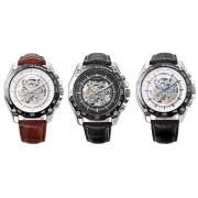 Winner 427 Male Auto Mechanical Watch Luminous Leather Band Wristwatch for Men