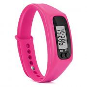 Run Step Watch Sport Bracelet Fitness Tracker Pedometer Calorie Counter Digital LCD Walking Distance ROSE RED