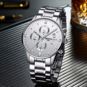 Men Luminous Stainless Steel Band Quartz Watch WARM WHITE