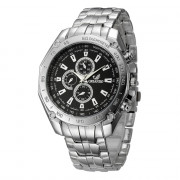 Fashion Casual Large Dial Stainless Steel Analog Military Watch BLACK