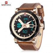 Naviforce 9132 Male Dual Movt Watch Luminous Calender Display for Men ROSE GOLD