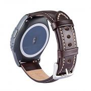 20MM Genuine Leather Strap for Samsung Gear S2 Classic/Huawei Watch 2/Motorola Moto 360 2nd Gen Men's 42mm/Ticwatch 2nd BROWN