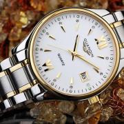 GUANQIN GQ80019 Men Business Waterproof Luminous Quartz Watch  GOLD WHITE DIAL