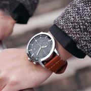 OCHSTIN 6078 Men\'s Quartz Watch Water Resistant Leather Strap BROWN