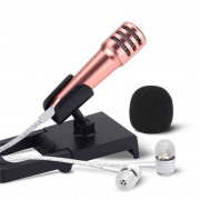 Wired Mini Cell Phone Stereo Microphone Earphone for Chatting Singing