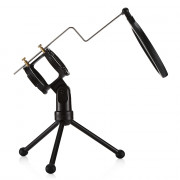 PS - 3 Desktop Microphone Holder Bracket with Double Pop Filter Stand