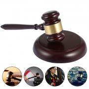 Wooden Handcrafted Wood Gavel Hammer Sound Block Set