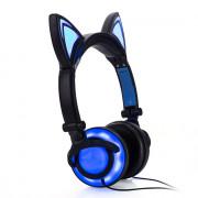 Kids Girls Headphones Cat Ear LED Foldable Stereo Music Gaming Flashing Headsets