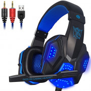 Gaming Headset with Mic and LED Light for Laptop Computer PC
