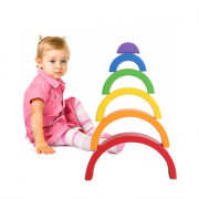 6pcs Wooden Rainbow Stacking Game Building Block Toy for Kids