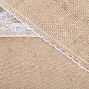 12 x 108 Inches White Burlap Lace Hessian Natural Jute Table Runner for Wedding Party Table Decoration