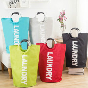 Waterproof Oxford Cloth Home Organizer Bag Simple Letters Pattern Dirty Clothing Laundry Bucket