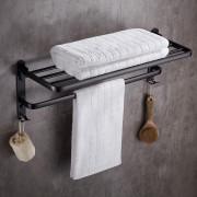 Towel Rack Space Aluminum Bathroom Shelf with Hooks